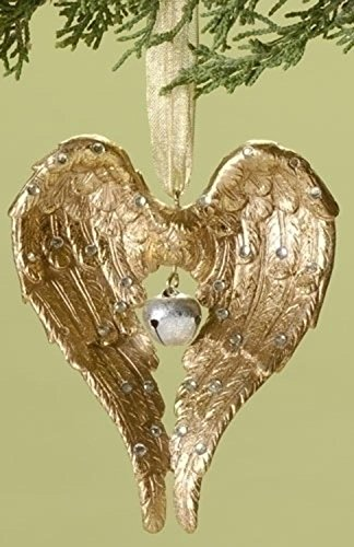 Roman Winter's Beauty Gold Angel Wings with Bell Christmas Ornament