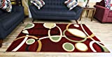 NEW Modern Abstract Contemporary Design Red Burgundy Multi-Color Rug Carpet Stain Resistant Beautiful Area Rug 8 by 11