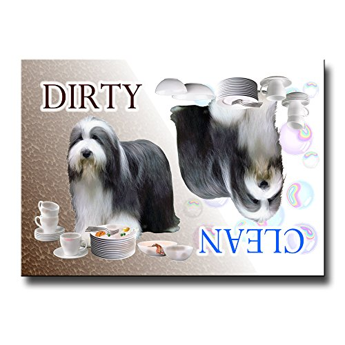 Bearded Collie Clean Dirty Dishwasher Magnet
