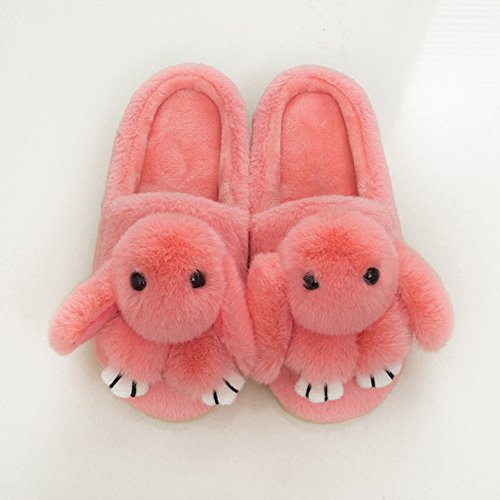 Minetom Damen Winter Baumwolle Pantoffeln Dickere Wärme Plüsch Kuschelige Hasenohren Home Hausschuhe Anti Rutsch Slippers F- Rosa