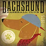 Dachshund Baseball by Stephen Fowler Animals Dogs Sports Print Poster 12.25x12