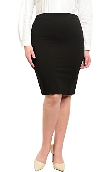a01fd0d059ac8 2LUV Plus Women s Classic High Waisted Pencil Skirt with Back Zipper Black  1XL at Amazon Women s Clothing store