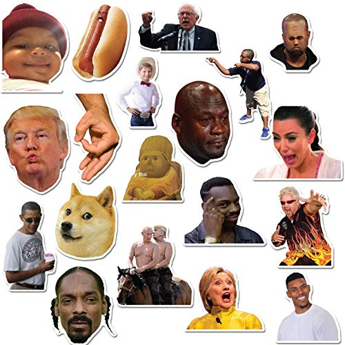 ((20 Pack) Funny Internet Memes and Celebrity Vinyl Sticker Pack Stickers for Laptop, iPhone, Water Bottles, Computer, and Hydro Flask by RipDesigns)