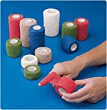 Andover 081300243 Co-Flex Cohesive Flexible Bandage, Red, 3'' x 5 yd, Shape
