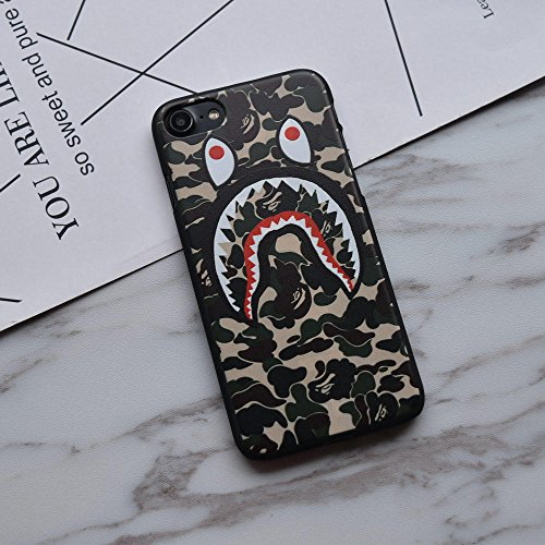 Cheap Cases Fashion Bape Shark Face for iPhone 7 Camo Green