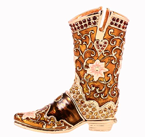 (Cowboy Boot Trinket Box, Hand Set Topaz Swarovski Crystal, Hand Painted Brown Enamel Over Solid Pewter Base, Inside of Box with Lovely Enamel, Comes in Beautiful Gift Box, L 3.50 X H 3.50 X W 1.10)