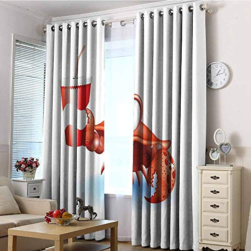Grommet Curtains,Crabs Thirsty Marine Animal with Drink on a Paper Cup with Straw Summertime Theme,Blackout Draperies for Bedroom,W96x72L Vermilion White Blue