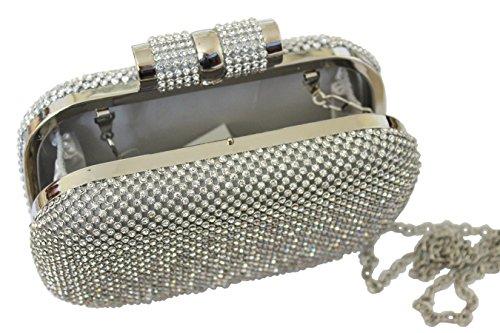 Diamante embrague Plateado cristal de fiesta Diamante Bling noche grande Prom Bolsa bolso FtqH7w