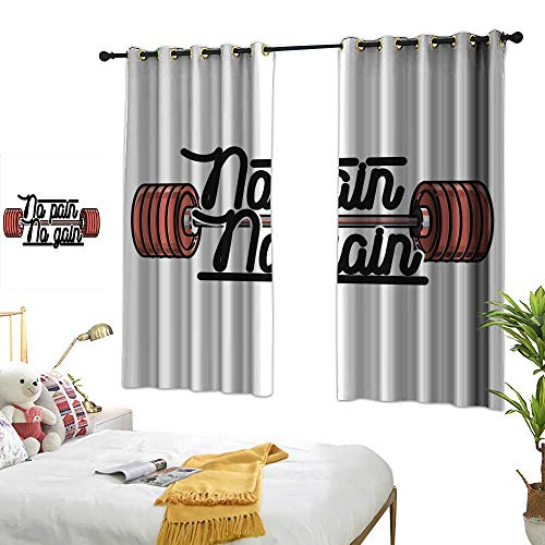 ss Decor Curtains No Pain No Gain Vintage Emblem Design Barbells Weightlifting Bodybuilding 63