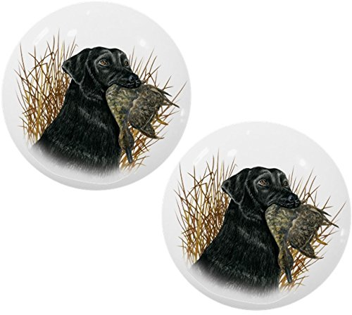 (Set of 2 Retriever with Duck Ceramic Cabinet Drawer Knobs )