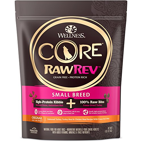 Wellness Core Rawrev Natural Grain Free Small Breed Dry Dog Food, Original Turkey & Chicken With Freeze Dried Turkey, 4-Pound ()