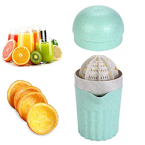Citrus Juicer Manual Orange Lemon Lime Squeezer Lid Rotation Press Reamer with Strainer and Container,2 Cups (Mint Green)