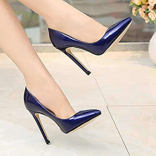 Heel Pumps 11 OCHENTA Ice High PU Shoes Sexy Blue Toe Women Closed zfAE0