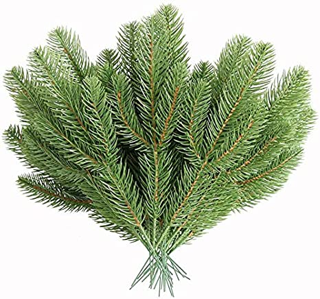 Elyjhyy 30pcs Artificial Pine Picks Branches Green Plants Pine Accessories for Garland Needles Wreath Christmas Embellishing and Home Garden Decor DIY