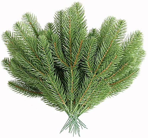 MUFEN 30pcs Artificial Pine Branches Green Plants Pine Needles DIY Accessories for Garland Wreath Christmas Embellishing and Home Garden Decor from Elyjhyy