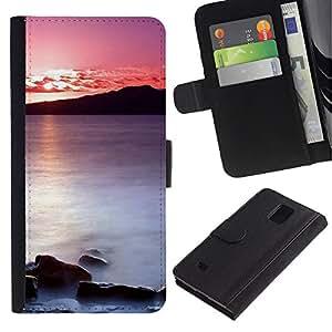 iBinBang / Flip Funda de Cuero Case Cover - Puesta de sol Mar Beautiful Nature 20 - Samsung Galaxy Note 4 SM-N910
