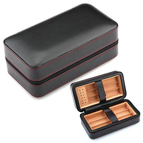 Best Cuban Cigars (GALINER Cigar Humidor, Cigar Case, Spain Cedar Wood Travel Leather Cigar Humidor Humidifier (Black))