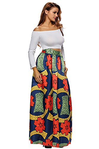 9aa225fca1 VIGVOG Women's Ethnic Plus-Size African Print Pull-on Pleated Maxi A-line