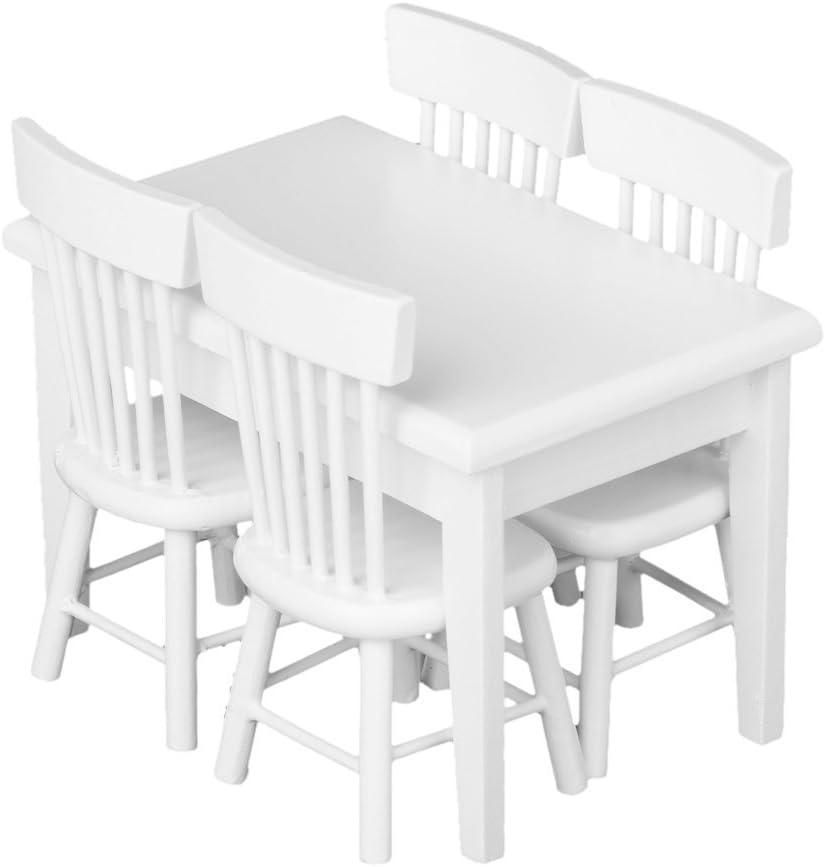 SODIAL(R) 5 piezas Juego de silla mesa modelo Muebles de casa de munecas en miniatura Blanco 1/12