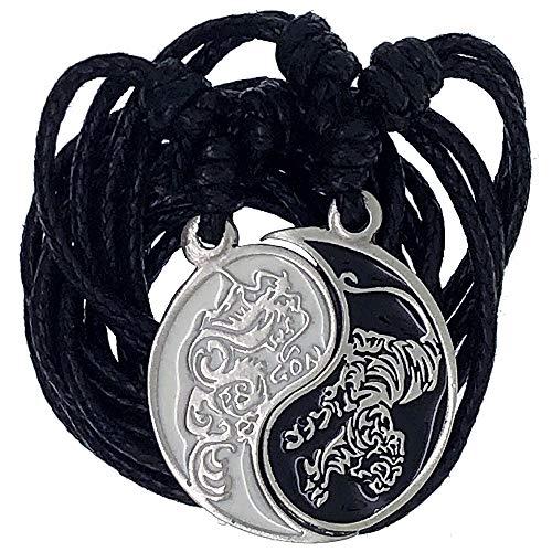 OhDeal4U Dragon Tiger Split Yin Yang Pewter Pendant Necklace with Adjustable Black Cord