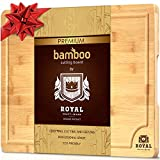 Organic Bamboo Cutting Board with Juice Groove - Best Kitchen Chopping Board for Meat (Butcher Block) Cheese and Vegetables | Anti Microbial Heavy Duty Serving Tray w/Handles
