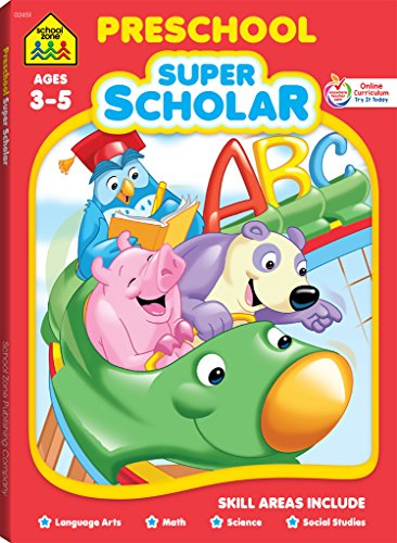 School Zone - Preschool Super Scholar Workbook, Ages 3 to 5, Alphabet, Numbers 1-12, Colors, Shapes, and More