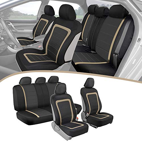 Seat Envoy - ADV Performance Car Seat Covers - Automotive Interior Protection - PolyCloth Honeycomb Carbon Fiber with Accent Trim (Beige Trim, Seat Covers)