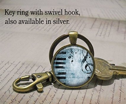 - Blues Piano Pendant, Music Necklace, Piano Necklace, Music Jewelry, Piano Teacher Gift, Music Teacher Gift Pianist Gift Keychain Key Chain