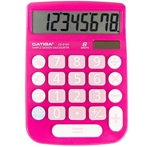 CATIGA CD-8185 Office and Home Style Calculator - 8-Digit LCD Display - Suitable for Desk and On The Move use. (Pink) (Basic Calculator Purple)