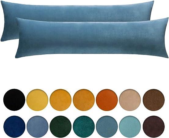MIULEE Pack de 2 Fundas para Cojines Protectore Terciopelo Suave Juego de Mesa de Manta de decoración Cuadrado de Almohada Funda cojín para sofá Dormitorio 40x145cm 16