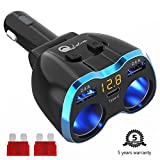 USB C Car Charger Cigarette Lighter Splitter Adapter 2 Socket Type C Multi Power Outlet 12V/24V 80W DC with LED Voltmeter Switch 5.8A Dual USB Port for Mobile Cell Phone GPS Dash Cam Review