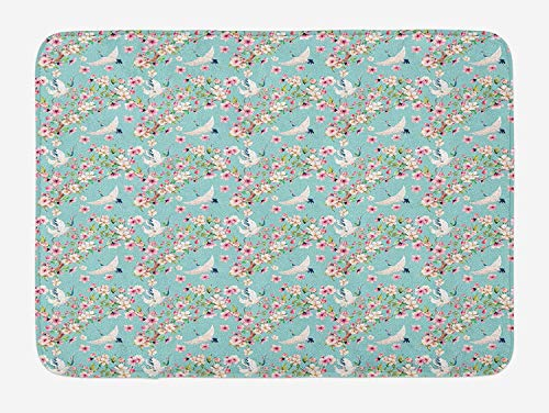 Casual WmT Flowers Bath Mat, Watercolor Art Style Flying Crane Birds with Pink Sakura Cherry Blossoms Exotic, Plush Bathroom Decor Mat with Non Slip Backing, 16