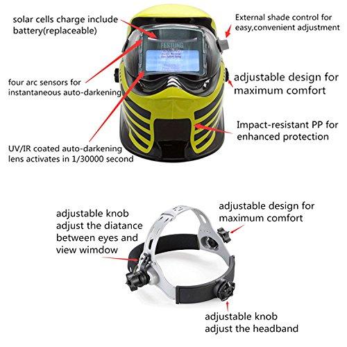 Doitpower Solar-powered Auto-darkening Welding Helmet with 4 Arc Sensors Two Shade Ranges #5-8/9-13 Suede Safety Work Welding Glove Included by Doitpower (Image #2)