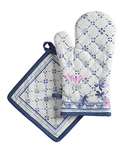 (Maison d' Hermine Faïence 100% Cotton Set of Oven Mitt (7.5 Inch by 13 Inch) and Pot Holder (8 Inch by 8 Inch) )