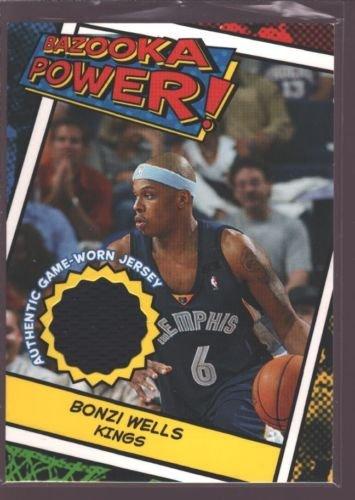 BONZI WELLS 2005-06 TOPPS BAZOOKA GAME USED WORN JERSEY PATCH KINGS $12