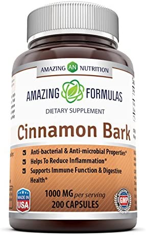 Amazing Formulas Cinnamon Bark Dietary Supplement * 500 mg Cinnamon Bark Extract Per Capsules 1000mg per Serving of 2 Capsules * 200 Capsules per Bottle * Anti-Bacterial Anti-Microbial Properties