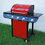 SUPER SPACE 60000 BTU 4 Burner + Side Burner Patio Garden Stainless Steel Barbecue Grill BBQ Gas Grills with Seasoning Shelf Super Space inc.