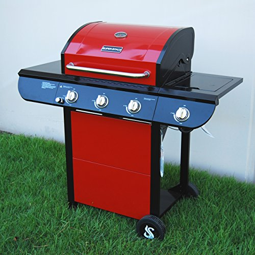 SUPER SPACE 3 Burner and Side Burner Patio Garden Stainless Steel Propane Barbecue Grill BBQ Gas Grills, 52,500 BTU, Red