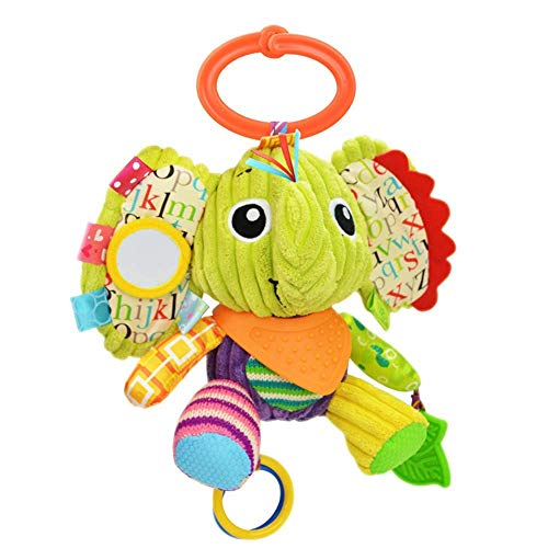 OASMU Baby Toys, Pram Toys, Stuffed Animal Infant Stroller Toys Washable Squeaker Car Toys, Kids Hanging Toy for Crib with Teethers (Elephant)
