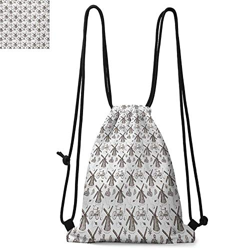 DutchPortable drawstring backpackTraditional Netherlands Symbols Illustration with Hand Drawn Windmills TulipsSuitable for carrying around W13.4 x L8.3 Inch Brown and White ()