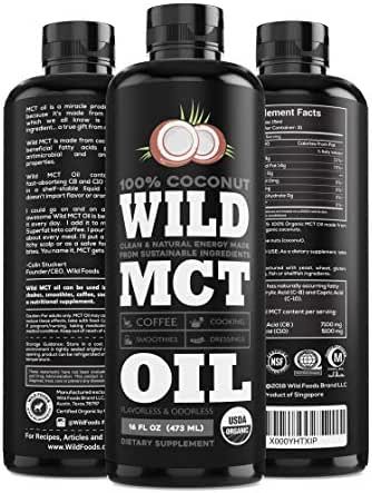 Organic MCT Oil C8/C10 Blend from 100% Coconuts   USDA, Non-GMO, Triple Filtered & Batch Tested for Purity, Great for Coffee, Smoothies, Dressings & Keto Recipes (16oz BPA-Free Bottle)