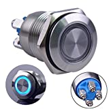 "Ulincos Momentary Pushbutton Switch U16B1 1NO Silver Stainless Steel Shell with Blue LED Ring Suitable for 16mm 5/8"" Mounting Hole (Blue)"