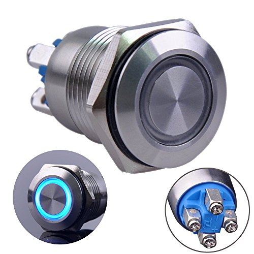 Ulincos Momentary Pushbutton Switch U16B1 1NO Silver Stainless Steel Shell with Blue LED Ring Suitable for 16mm 5/8