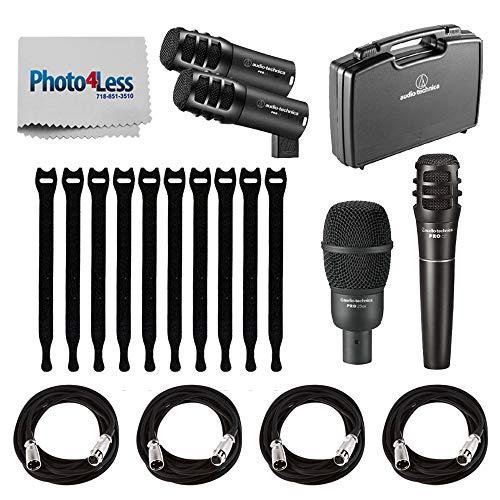 Audio-Technica PRO-DRUM4-4 Piece Pro Series Drum Microphone Set + 4 x Mic XLR Cable Recording Bundle