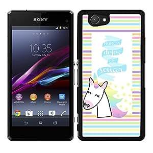 "Funda carcasa para Sony Xperia Z1 Compact diseño frase ""nunca dejes de soñar"" unicornio colores borde negro"