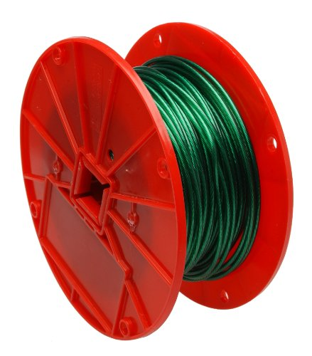 (Galvanized Steel Wire Rope on Reel, Vinyl Coated, 1x7 Strand, Green, 1/16