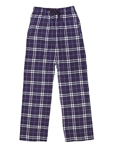 Ultra Soft Unisex Youth 100% Cotton Flannel Pants – Purple/White, Large (Purple Sleep Pant)