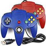 [USB Version] 2 Pack Classic N64 Controller, iNNEXT N64 Wired USB PC Game pad Joystick, N64 Bit USB Wired Game Stick for Windows PC MAC Linux Raspberry Pi 3 Genesis Higan