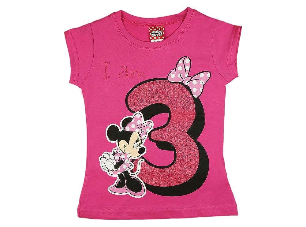 M/ädchen Baby Kinder dritter Geburtstag Kurzarm T-Shirt 3 Jahr Baumwolle Birthday Outfit GR/ÖSSE 98 104 Minnie Mouse Disney Design Glitzer Weiss oder Rosa Babyshirt Oberteil Farbe Weiss