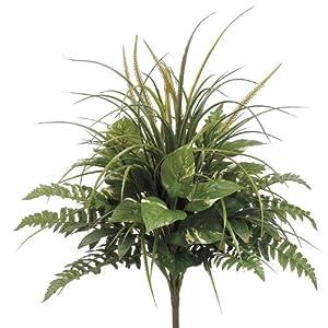 House of Silk Flowers Artificial 24-inch Pothos/Grass/Fern Mixed Bush 62